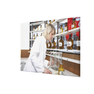 Blond pharmacist working in lab and smiling into gallery wrap canvas