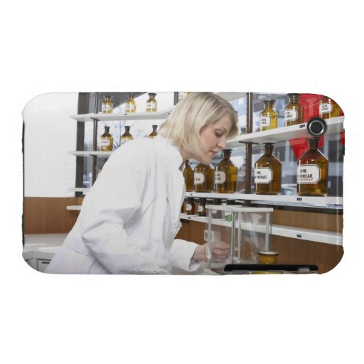Blond pharmacist working in lab and smiling into Case-Mate iPhone 3 cases