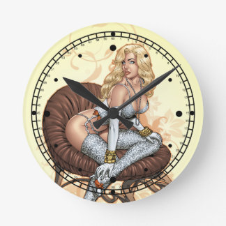 Blond Pinup Girl in Lingerie by Al Rio Round Clock