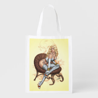 Blond Pinup In Lingerie By Al Rio Reusable Grocery Bags