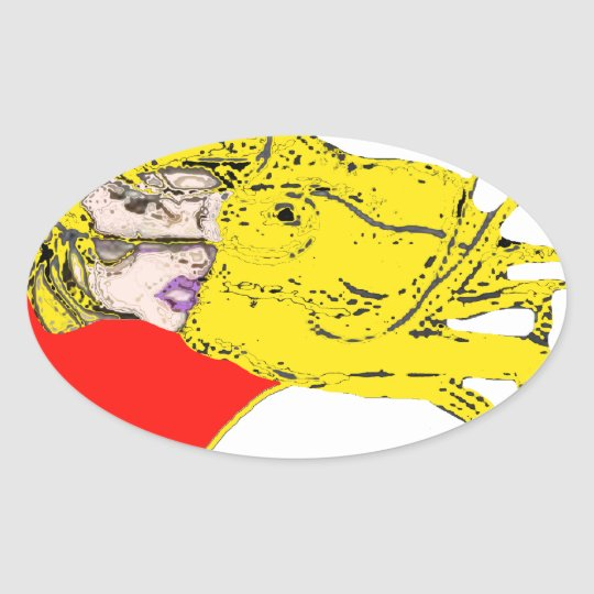 BLOND.png FACE Oval Sticker