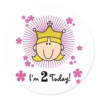 Blond Princess 2nd Birthday Tshirts and Gifts Sticker