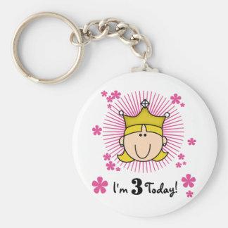 Blond Princess 3rd Birthday Tshirts & Gifts Keychain