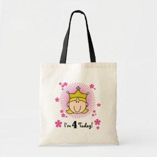 Blond Princess 4th Birthday Tshirts and Gifts Tote Bag