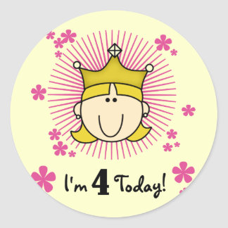 Blond Princess 4th Birthday Tshirts and Gifts Classic Round Sticker