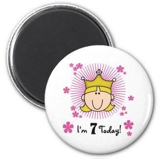 Blond Princess 7th Birthday Refrigerator Magnets