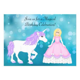 Blond Princess and Unicorn Birthday Invitation