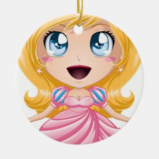 Blond Princess In Pink Dress Ceramic Ornament