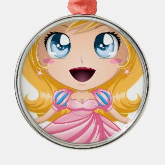 Blond Princess In Pink Dress Metal Ornament