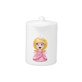 Blond Princess In Pink Dress Teapot
