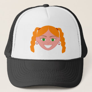 Blond Red Head Girl Face Trucker Hat