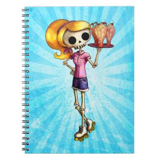 Blond Skeleton Waitress Notebooks