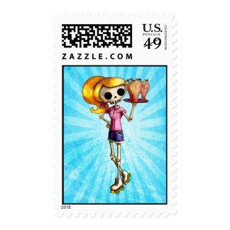 Blond Skeleton Waitress Stamp