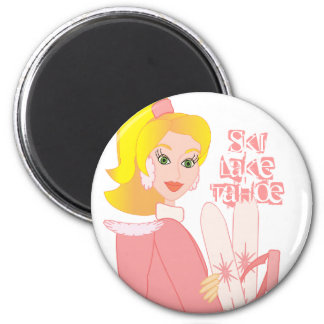 Blond Skier 2 Inch Round Magnet