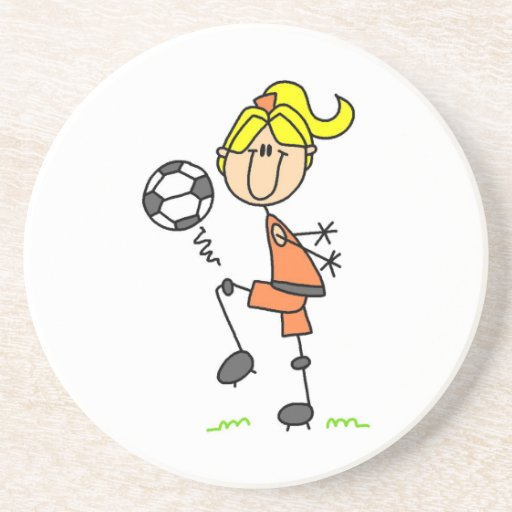 Blond Stick Figure Soccer Player Girl Gifts Beverage Coasters