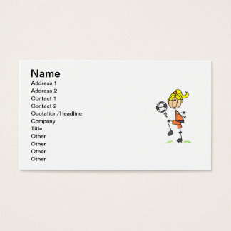 Blond Stick Figure Soccer Player Girl Gifts Business Card