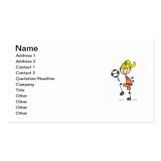 Blond Stick Figure Soccer Player Girl Gifts Business Card Template