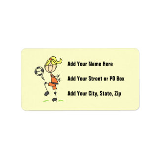 Blond Stick Figure Soccer Player Girl Gifts Label