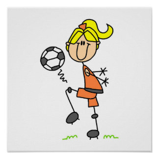 Blond Stick Figure Soccer Player Girl Gifts Print