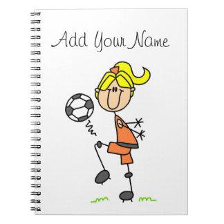 Blond Stick Figure Soccer Player Girl Gifts Spiral Notebook