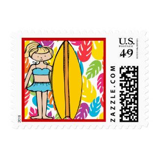 Blond Surfer Girl Postage Stamps