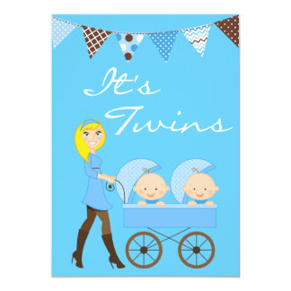 Blond Twin Boys Baby Shower Invitation
