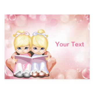 Blond Twin Girls Postcard