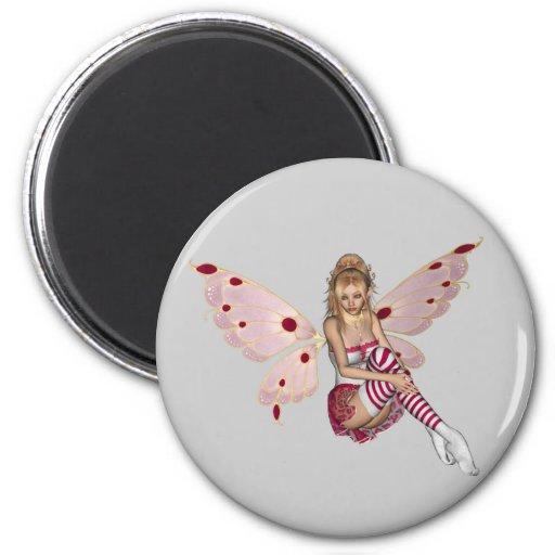 Blond Valentine Fairy - Pink 2 Fridge Magnets