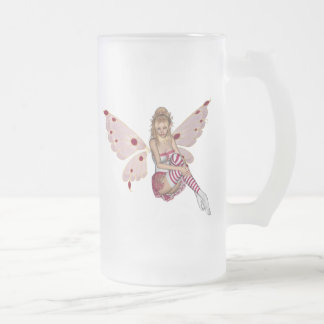 Blond Valentine Fairy - Pink 2 Frosted Glass Beer Mug