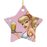 Blond Waitress Serving Plate Of Food and Beer Ceramic Ornament
