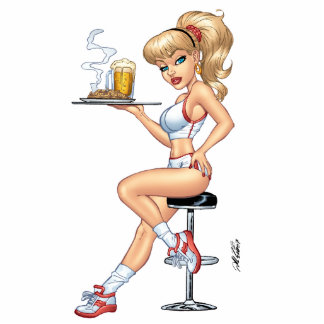 Blond Waitress Serving Plate Of Food and Beer Statuette