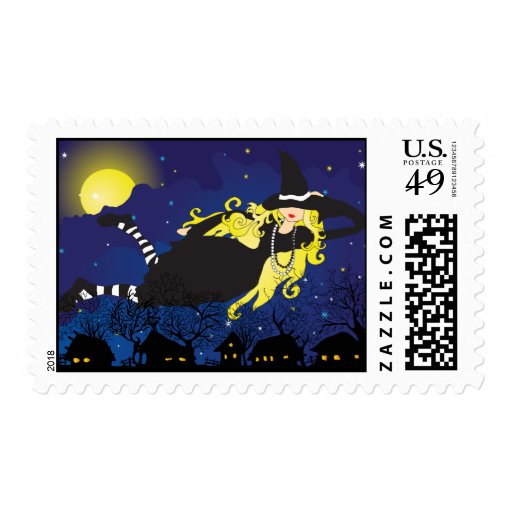 Blond witch postage stamps