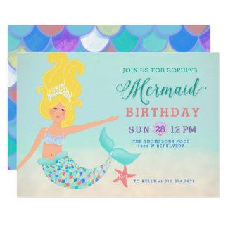 Blond with Fair Skin Mermaid Birthday Party Card