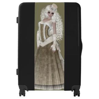 Blond Woman Large Sized Luggage Suitcase