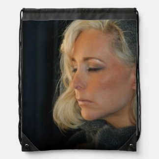 Blond Woman Relaxing Drawstring Bags