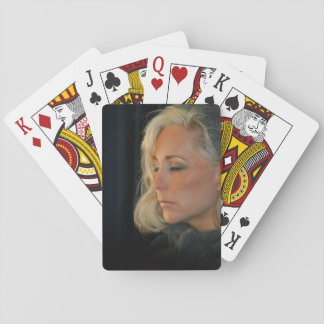 Blond Woman Relaxing Playing Cards