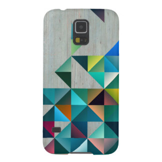 Blond Wood Colorful Triangles Galaxy S5 Case