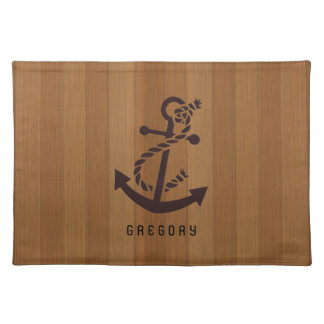 Blond Wood Planks Brown Nautical Anchor Placemat