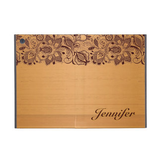 Blond Wood & Vintage Lace Texture Monogram iPad Mini Cover