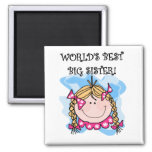 Blond World's Best Big Sister Tshirts and Gifts 2 Inch Square Magnet