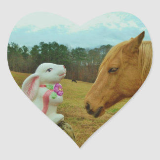 Blond Yellow horse & Easter Bunny Heart Sticker