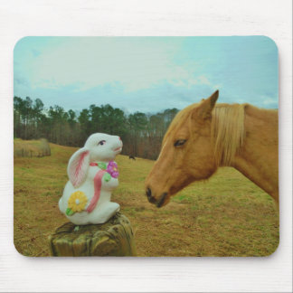 Blond Yellow horse & Easter Bunny Mouse Pad