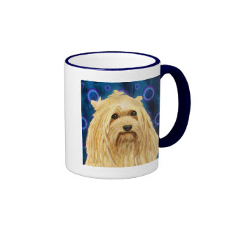 Blond Yorkshire on a Blue Urban Style Background Coffee Mugs