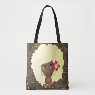Blonde Afro Flower in Hair Tropical Leaves Pattern