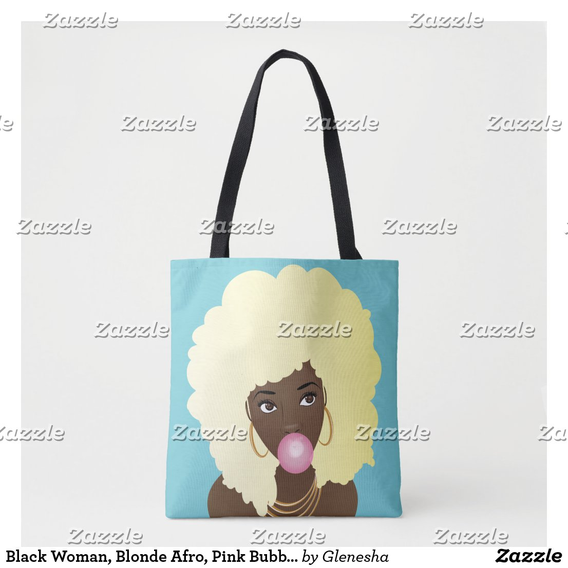 Blonde Afro Popping Pink Bubble Gum Tote Bag
