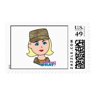 Blonde Air Force Camo Head Postage Stamp