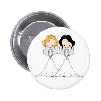 Blonde and Black Haired Brides Lesbian Wedding 2 Inch Round Button