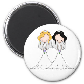 Blonde and Black Haired Brides Lesbian Wedding 2 Inch Round Magnet