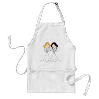 Blonde and Black Haired Brides Lesbian Wedding Adult Apron