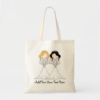 Blonde and Black Haired Brides Lesbian Wedding Budget Tote Bag